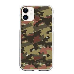 Чехол iPhone 11 матовый Камуфляж: коричневый/хаки цвета 3D-белый — фото 1