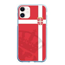 Чехол iPhone 11 матовый Сборная Сербии цвета 3D-голубой — фото 1