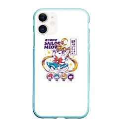 Чехол iPhone 11 матовый Sailor Meow цвета 3D-мятный — фото 1