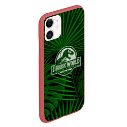 Чехол iPhone 11 матовый Jurassic World: Green Tropic цвета 3D-красный — фото 2