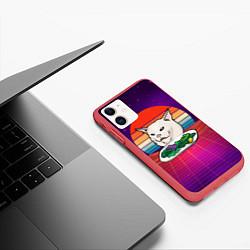 Чехол для iPhone 11 матовый с принтом Woman yelling at a cat, цвет: 3D-красный, артикул: 10200535305889 — фото 2