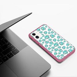 Чехол iPhone 11 матовый Бриллианты цвета 3D-малиновый — фото 2