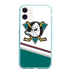 Чехол iPhone 11 матовый Anaheim Ducks Selanne цвета 3D-мятный — фото 1
