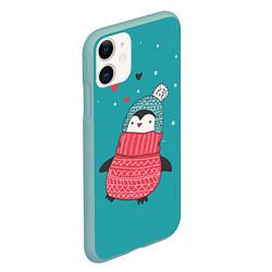 Чехол iPhone 11 матовый Пингвинчик цвета 3D-мятный — фото 2