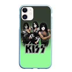 Чехол iPhone 11 матовый Kiss цвета 3D-голубой — фото 1