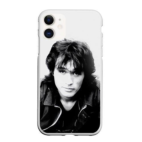 Чехол iPhone 11 матовый Кино: Виктор Цой / 3D-Белый – фото 1