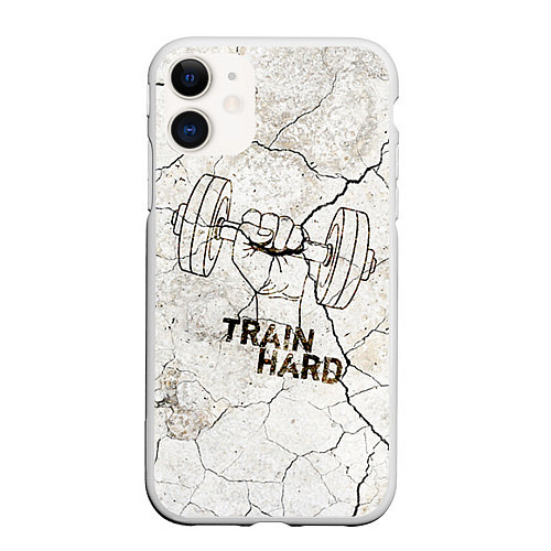 Чехол iPhone 11 матовый Train hard / 3D-Белый – фото 1