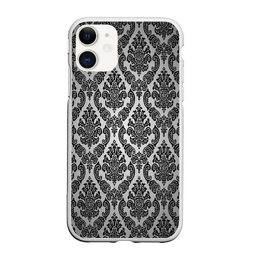 Чехол iPhone 11 матовый Гламурный узор / 3D-Белый – фото 1