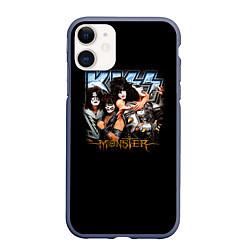 Чехол iPhone 11 матовый Kiss Monster цвета 3D-серый — фото 1