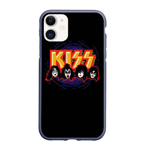 Чехол iPhone 11 матовый KISS: Death Faces / 3D-Серый – фото 1
