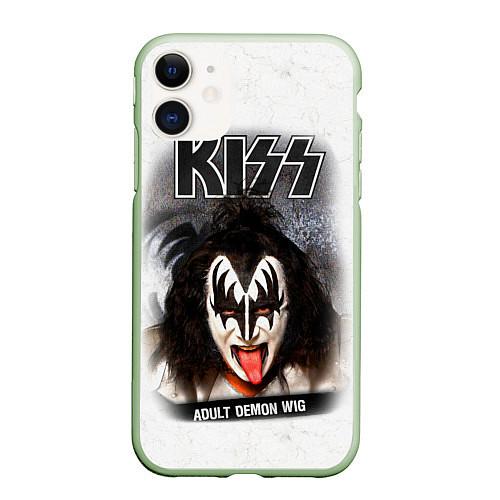 Чехол iPhone 11 матовый KISS: Adult demon wig / 3D-Салатовый – фото 1