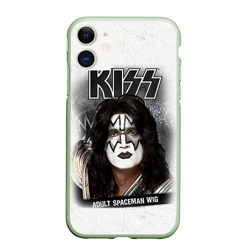 Чехол iPhone 11 матовый KISS: Adult spaceman wig / 3D-Салатовый – фото 1