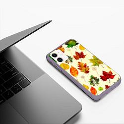Чехол iPhone 11 матовый Осень цвета 3D-серый — фото 2