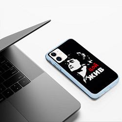 Чехол iPhone 11 матовый Цой жив цвета 3D-голубой — фото 2