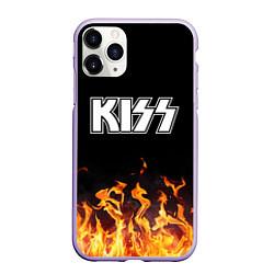 Чехол iPhone 11 Pro матовый Kiss: Hell Flame цвета 3D-светло-сиреневый — фото 1