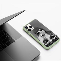 Чехол iPhone 11 Pro матовый Кобейн в очках цвета 3D-салатовый — фото 2