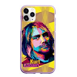 Чехол iPhone 11 Pro матовый Kurt Cobain: Abstraction цвета 3D-сиреневый — фото 1