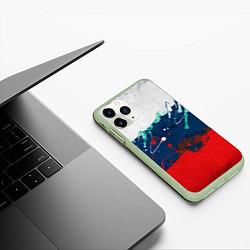 Чехол iPhone 11 Pro матовый Триколор РФ цвета 3D-салатовый — фото 2