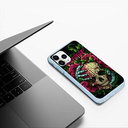 Чехол iPhone 11 Pro матовый BFMV: Roses Skull цвета 3D-голубой — фото 2