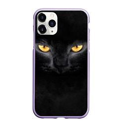 Чехол iPhone 11 Pro матовый Черная кошка цвета 3D-светло-сиреневый — фото 1