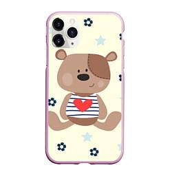 Чехол iPhone 11 Pro матовый Любовь мишки цвета 3D-розовый — фото 1