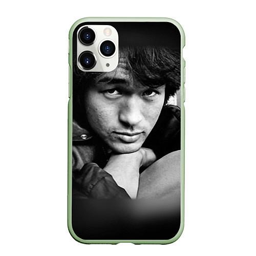 Чехол iPhone 11 Pro матовый Виктор Цой / 3D-Салатовый – фото 1