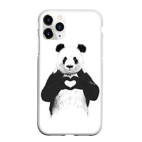 Чехол iPhone 11 Pro матовый Panda Love / 3D-Белый – фото 1
