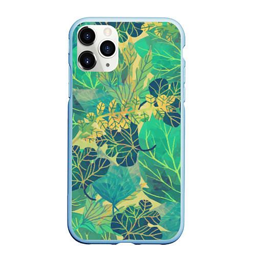 Чехол iPhone 11 Pro матовый Узор из листьев / 3D-Голубой – фото 1