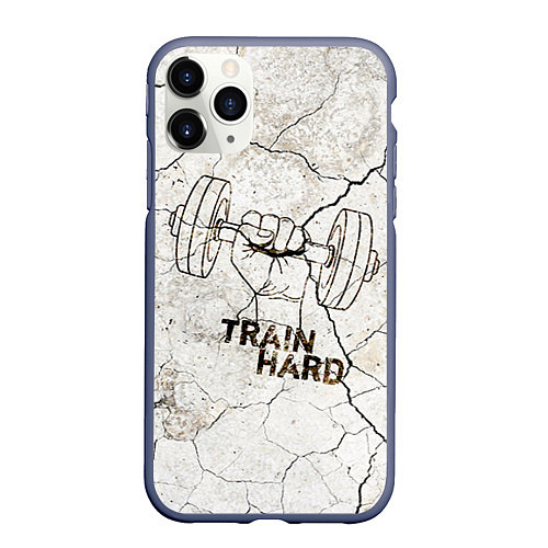 Чехол iPhone 11 Pro матовый Train hard / 3D-Серый – фото 1