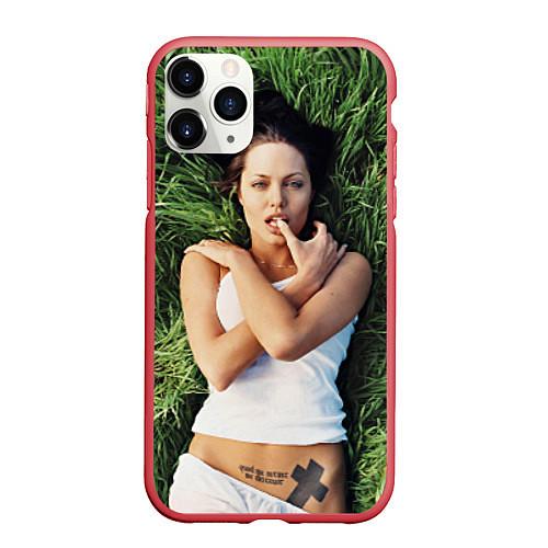Чехол iPhone 11 Pro матовый Анджелина Джоли / 3D-Красный – фото 1