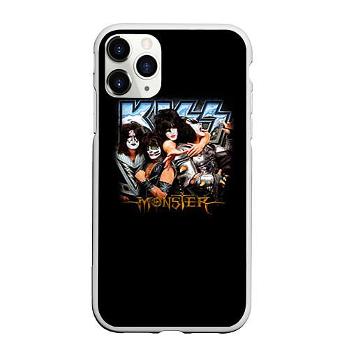 Чехол iPhone 11 Pro матовый Kiss Monster / 3D-Белый – фото 1