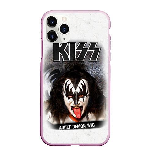 Чехол iPhone 11 Pro матовый KISS: Adult demon wig / 3D-Розовый – фото 1