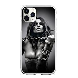 Чехол iPhone 11 Pro матовый Девушка с цепью цвета 3D-белый — фото 1