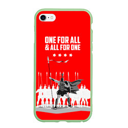 Чехол iPhone 6/6S Plus матовый One for all & all for one цвета 3D-салатовый — фото 1