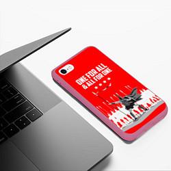 Чехол iPhone 6/6S Plus матовый One for all & all for one цвета 3D-малиновый — фото 2