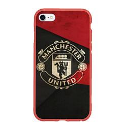 Чехол iPhone 6/6S Plus матовый FC Man United: Old Style цвета 3D-красный — фото 1