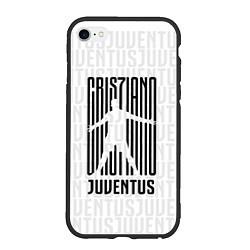 Чехол iPhone 6/6S Plus матовый Cris7iano Juventus цвета 3D-черный — фото 1