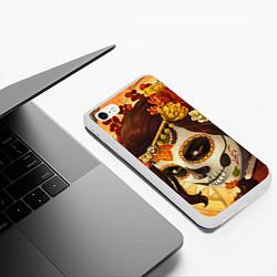 Чехол iPhone 6/6S Plus матовый Девушка. Сахарный череп цвета 3D-белый — фото 2