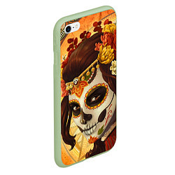 Чехол iPhone 6/6S Plus матовый Девушка. Сахарный череп цвета 3D-салатовый — фото 2