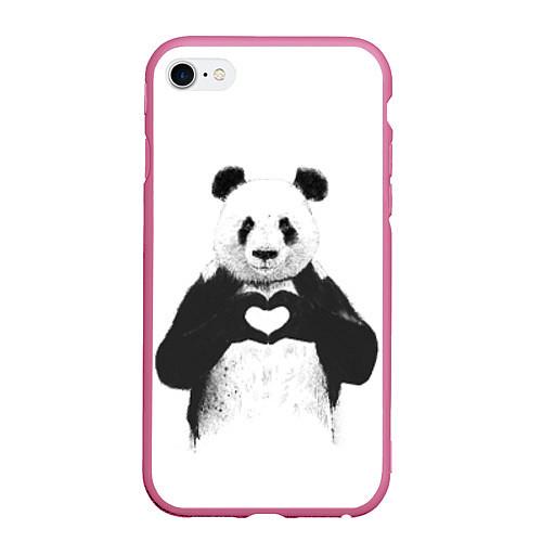 Чехол iPhone 6 Plus/6S Plus матовый Panda Love / 3D-Малиновый – фото 1