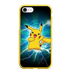 Чехол для iPhone 7/8 матовый с принтом Искрящийся Пикачу, цвет: 3D-желтый, артикул: 10101878305885 — фото 1