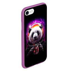 Чехол iPhone 7/8 матовый Panda Cosmonaut цвета 3D-фиолетовый — фото 2