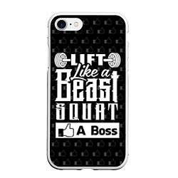 Чехол iPhone 7/8 матовый Lift Like A Beast Squat цвета 3D-белый — фото 1