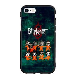 Чехол iPhone 7/8 матовый Группа Slipknot цвета 3D-черный — фото 1