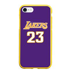 Чехол для iPhone 7/8 матовый с принтом NBA Lakers 23, цвет: 3D-желтый, артикул: 10158519305885 — фото 1