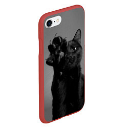 Чехол iPhone 7/8 матовый Черный котик цвета 3D-красный — фото 2
