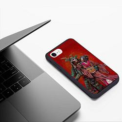 Чехол iPhone 7/8 матовый Скелеты цвета 3D-черный — фото 2