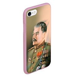 Чехол iPhone 7/8 матовый Иосиф Сталин цвета 3D-розовый — фото 2