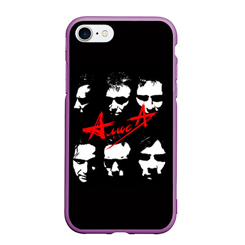 Чехол iPhone 7/8 матовый Группа АлисА / 3D-Фиолетовый – фото 1