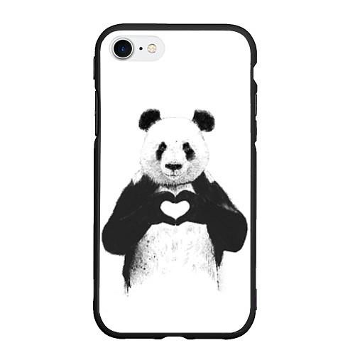 Чехол iPhone 7/8 матовый Panda Love / 3D-Черный – фото 1